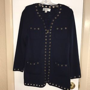 St John collection navy and gold cardigan